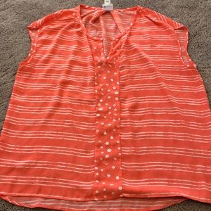 Pink and white stripe sleeveless top